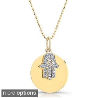 14k Gold 1/10ct TDW Diamond Hamsa Charm Disc 16-inch Necklace (J-K, I2-I3)