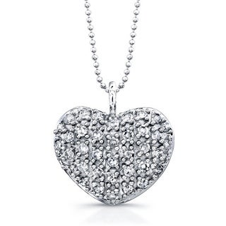 Victoria Kay 14k White Gold 1/5ct TDW Pave Diamond Heart 16-inch Necklace (J-K, I2-I3)