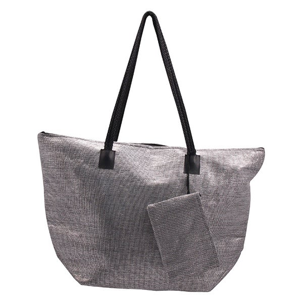 Roberto Amee Silver Woven Straw Tote Bag