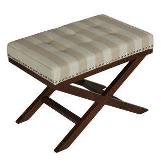 Cortesi Home X-shape Sandy Beach Striped Bench Ottoman
