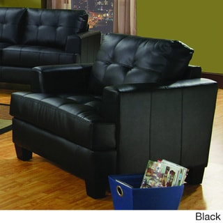 Samuel Black Square-tufted Bonded Leather Chair