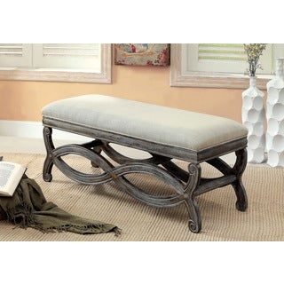 Furniture of America 'Quazi' Gray Solid Wood Reclaimed Bench