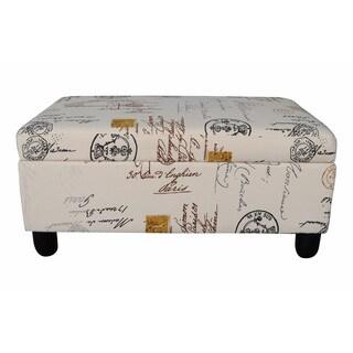 Vintage Stamp Upholstered Storage Ottoman