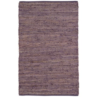 Hand Woven Purple Jeans Denim and Hemp Rug (9'x12')