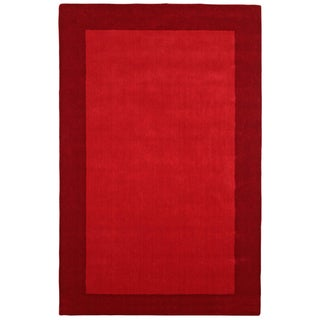 Hand Tufted Red Border Pulse Wool Rug (4'x6')