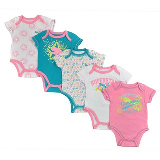 Puma Infant Girls 5-piece Pink/ Teal Bodysuit