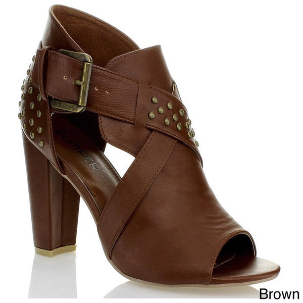 Bumper Women's 'NYLA11' Peep Toe Sandals with Studded Buckle Strap