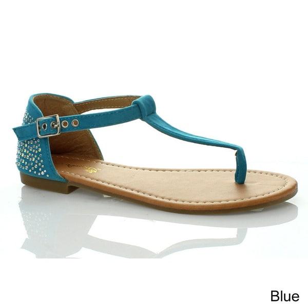 Anna Women's 'SAMI-3' Rhinestone T-strap Ankle Strap Sandals