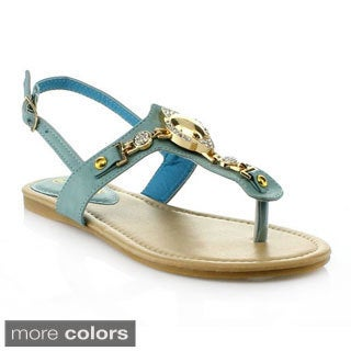 Anna Women's 'POP-3' T-strap Slingback Sandals