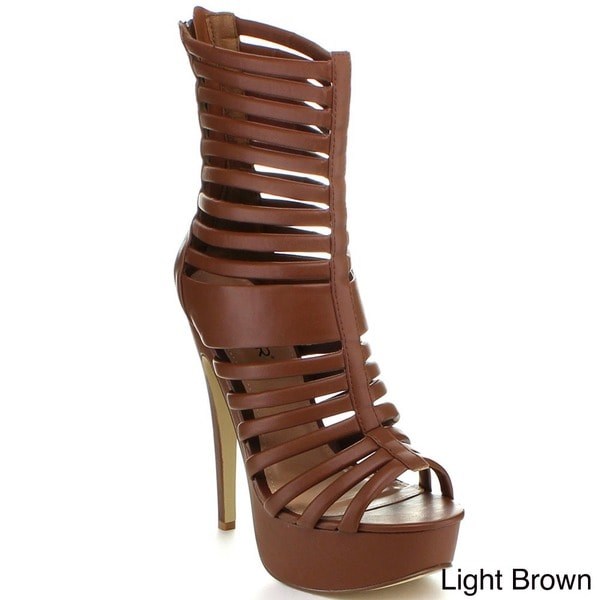 Bumper Women's 'Bianca-05' Strappy Gladiator Mid-calf Sandal Pumps