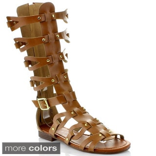 ANNA GLAD-1 Lady Mid Calf Boot Cut Out Stud Gladiator Cage Flat Back Zip Sandal