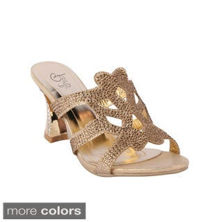 Rosette Women's 'Chavela-01' Rhinestone Studded Cut-out Chunky Sandals