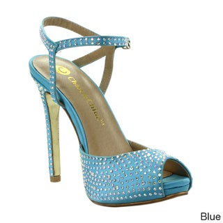 Be Intouch Women's 'Monica-4' Studded Peep-toe Stiletto Sandals