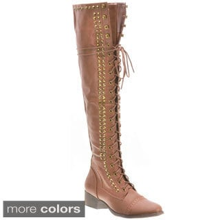 Breckelle's Women's 'Alabama-13' Over-the-knee Combat Boots