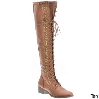 Breckelle's Women's 'Alabama-13' Over-the-knee Combat Boots