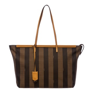 Fendi Tobacco/ Yellow Pequin-striped Roll Tote