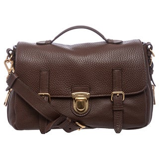 Prada Brown Grained Calf Leather Flap Bag