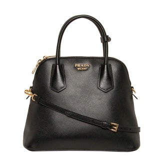 Prada Small Black Saffiano Leather Dome Satchel