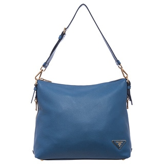 Prada 'Daino' Cobalt Blue Leather Side-zip Hobo Bag