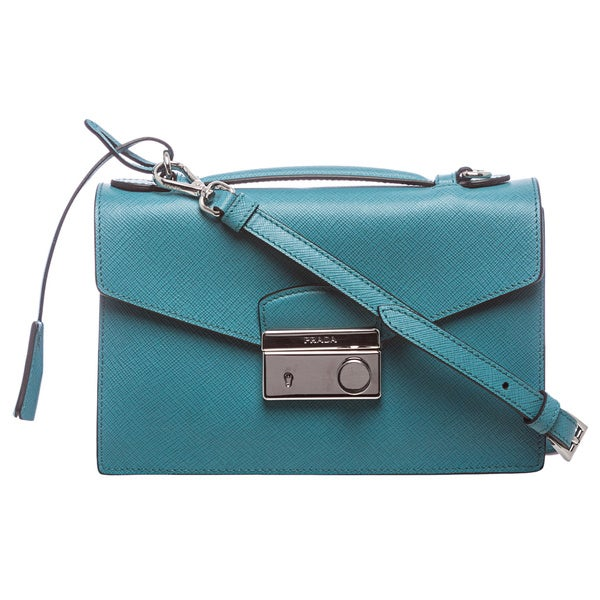 Prada Turquoise Saffiano Leather Mini Bag - 16080023 - Overstock ...