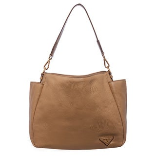 Prada 'Daino' Tan Leather Side Pocket Hobo Bag