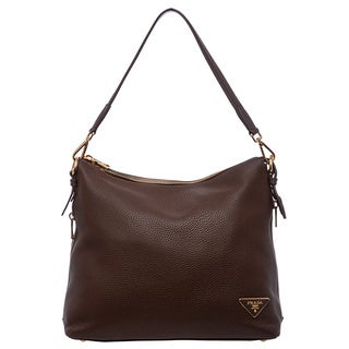 Prada 'Daino' Brown Leather Zipper-edge Hobo Bag