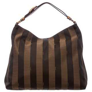 Fendi Tobacco/ Yellow Pequin Striped Jacquard Hobo Bag