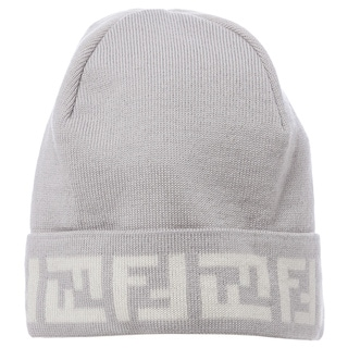 Fendi Light Grey/ Cream Zucca Trim Skull Cap