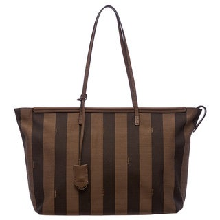 Fendi Tobacco/ Tan Pequin-striped Roll Tote