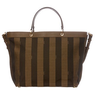 Fendi Large Tobacco/ Tan Pequin Striped Logo Jacquard Tote