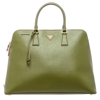 Prada 'Lux' Large Ivy Green Saffiano Leather Extended Zip Satchel