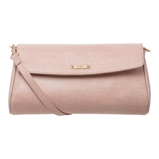 Fendi 'Crayons' Small Powder Pink Leather Crossbody Bag