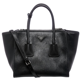 Prada 'Glac�' Small Black Calf Leather Twin Pocket Tote