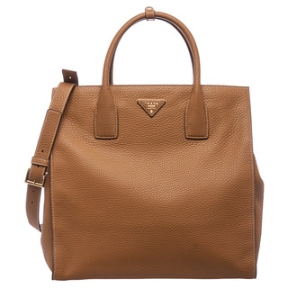 Prada Caramel Grained Calf Leather Tote