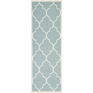 Safavieh Hand-woven Moroccan Dhurries Light Blue/ Ivory Wool Rug (2'6 x 10')