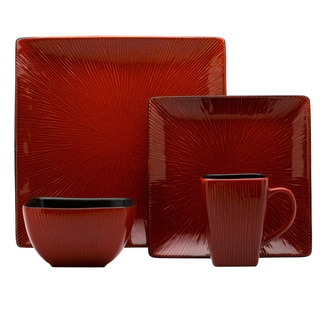 Red Vanilla Square Crimson Red 16-piece Dinner Set