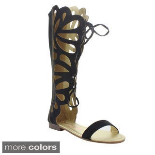 Anna Women's 'Fantacy-4' Knee-high Gladiator Cut-out Sandals