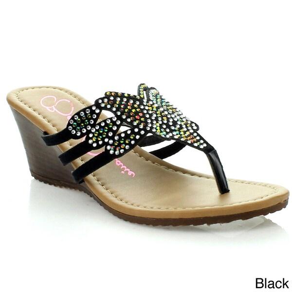 Anna Women's 'Barbie' Rhinestone Cork Wedge Sandals