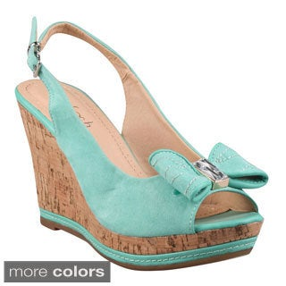 Refresh Women's 'Nova-6' Peep-toe Slingback Cork Platform Wedges