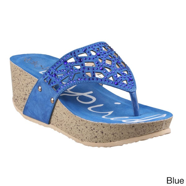 Refresh Women's 'Elva-03' Beaded Thong Wedge Sandals