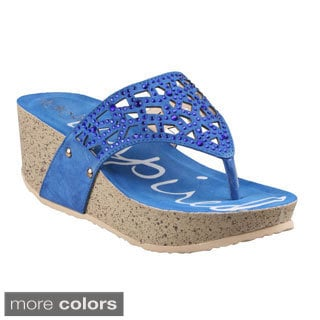 Refresh Women's 'Elva-03' Beaded Thong Wedge Sandals