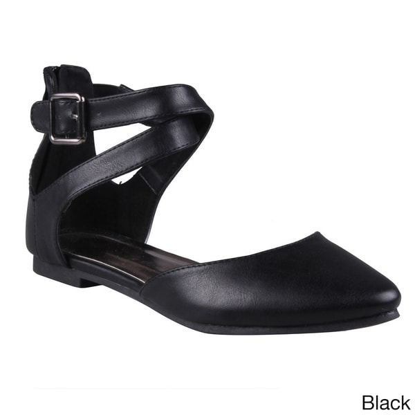 Refresh Women's 'Tempo-01' Pointed Toe Cross-strap Flat D'orsay Shoes