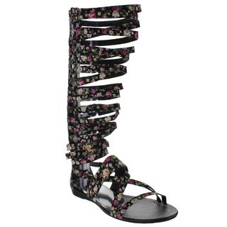 Bumper Women's 'LORY63A' Back Zipper Knee-high Gladiator Sandals