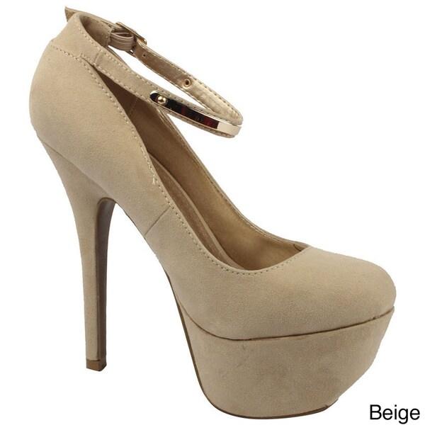 Bonnibel Women's 'ASHLIE-1' Metallic Buckle Ankle Strap Platform Stilettos