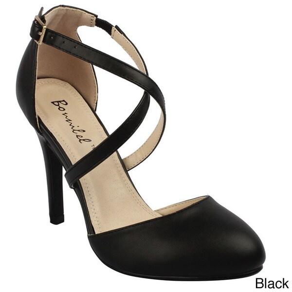 Bonnibel Women's 'ALIA-2' Stiletto Heel Buckle Criss-cross Ankle Strap Sandals