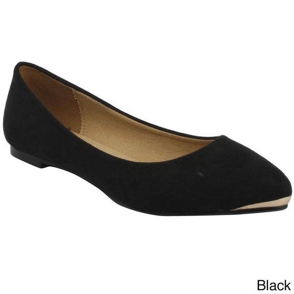 Bonnibell Women's Pointy Toe Metallic Cap Faux Suede Flats