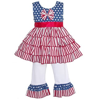 AnnLoren 4th of July Flag Rumba Tunic and Capri Set