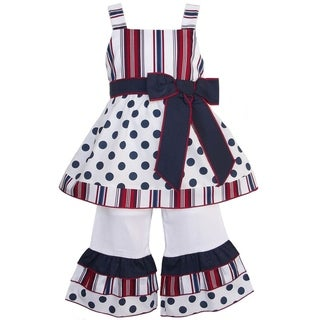 AnnLoren Red White and Blue Tunic and Capri Set