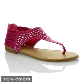 Anna Women's Rhinestone T-strap Ankle Strappy Flat Sandal