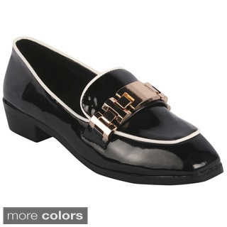 Bumper Women's 'IMAN02' Metallic Deco Loafers On Low Block Heels